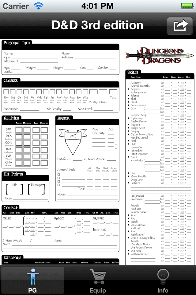 Screenshot Real Sheet: D&D 3.0 Edition
